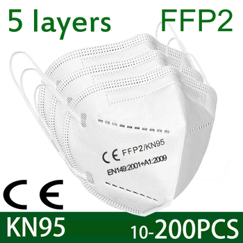 100 pieces of KN95 face mask antivirus 5 layer filter dust port PM2.5 mascarillas fpp2 protection health mask fast delivery