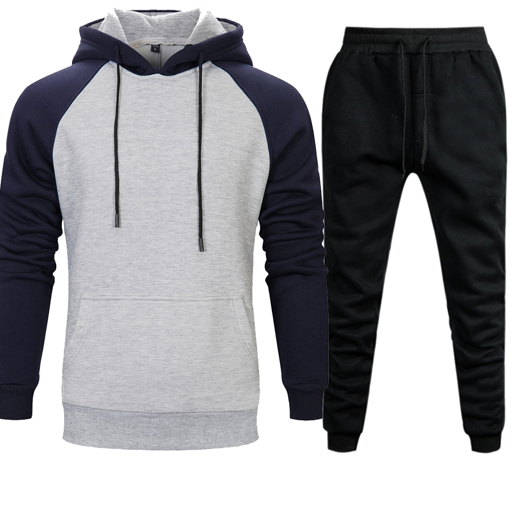 2019 New Casual Mens Sets Hoodies Pants Warm Autumn Winter Brand Sportswear Hooded Sweatshirt Sweatpant Men Set Streetweart Pant