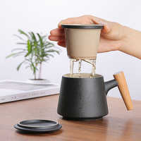 Japanese-style creative wooden handle ceramic cup with lid filter tea cup coffee mug office mug heat-resistant thermos cup