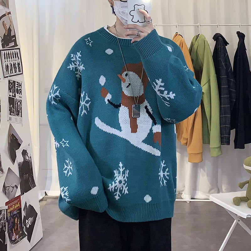 Winter New Sweater Men Warm Fashion Cartoon O-neck Knitted Pullover Man Streetwear Wild Loose Long-sleeved Sweater Male Clothes