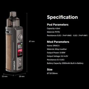 VOOPOO DRAG S – Cigarette électronique avec Kit Pod, avec bobines PnP, cartouche de 4.5ml, batterie de 2500mAh, 60W