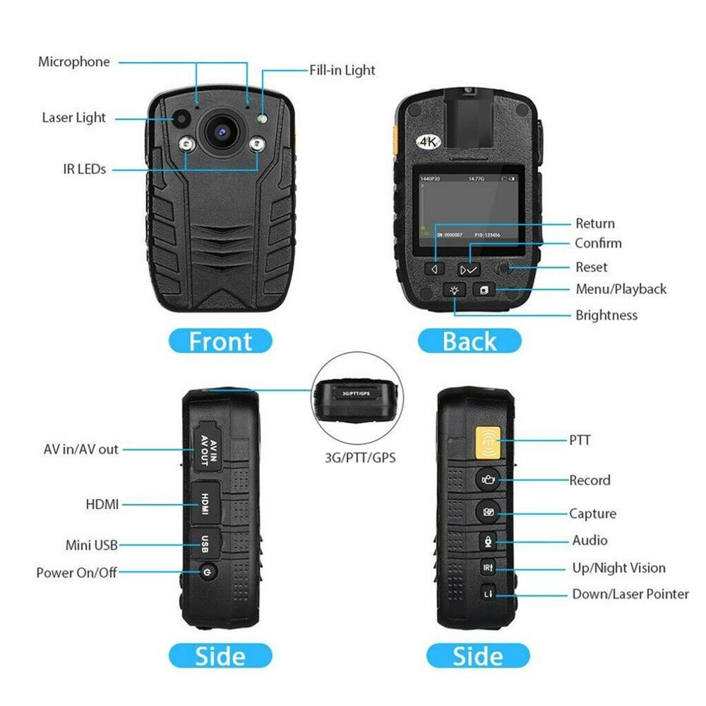 1296P Full HD Waterproof Police Body Camera Security Gadget With 2 Inch Display Night Vision GPS Motion detection Pakistan