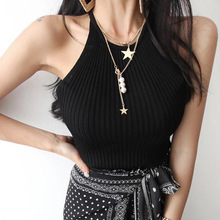 New Fashion Double Layered Tassel Long Chain Necklace Star Sequin Round Pearl Clover Fashion Choker for Women Jewelry Gift 2020 delicate layered tassel necklace for women