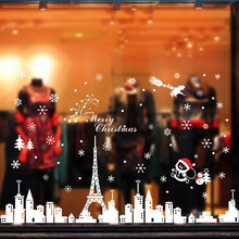 60*90cm PVC New Year Window Sticker 1PC Large Wall Stickers Removable Xmas Glass Christmas DIY Home Decor