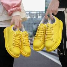 נעלי גבר של Scarpe דונה אביב סתיו אמיתי עור שטוח זוג נעליים יומיומיות Tenis Feminino לבן סניקרס נשים סל Femme