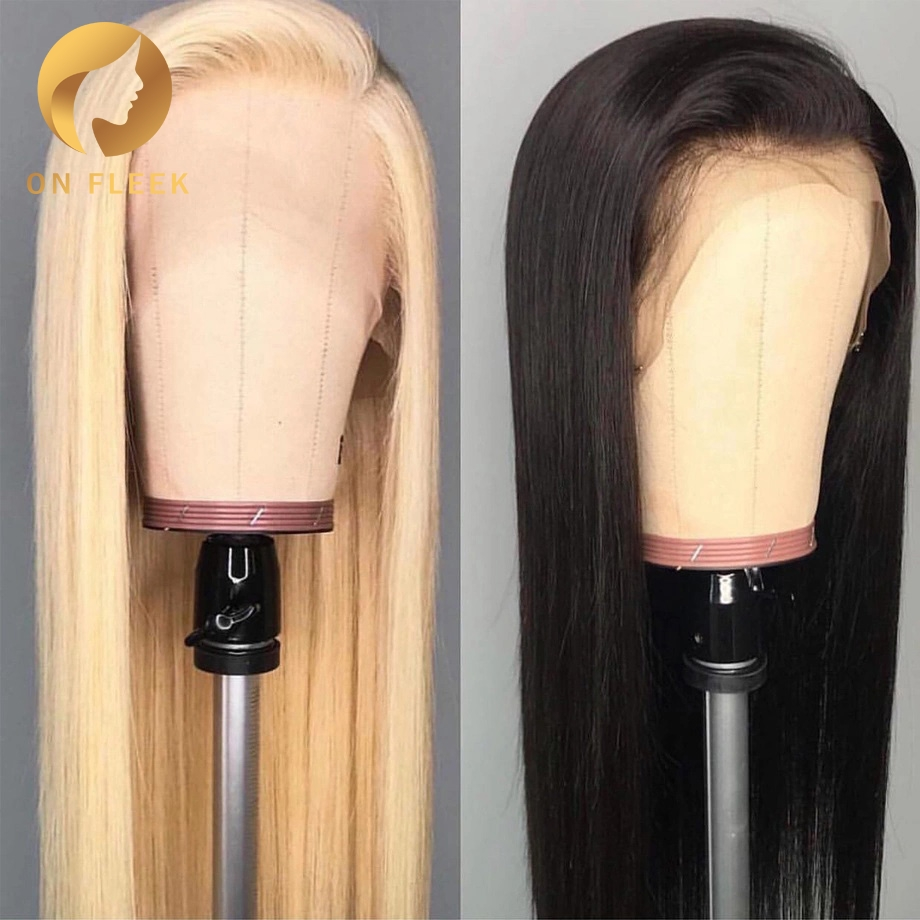 8 To 30 Inch Blonde 613 Full Lace Human Hair Wig Pre Plucked With Baby Hair Straight Wave Brazilian  Remy Hair  For Black Women