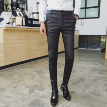 Autumn Fashion Leather Pants Gothic Mens Skinny Motorcycle Elastic Pencil Pants Spring Punk Pu Leather Personality Men Trousers