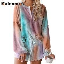 KALENMOS 2 Piece Set Women Tie Dye Print Cotton Tshirt Short