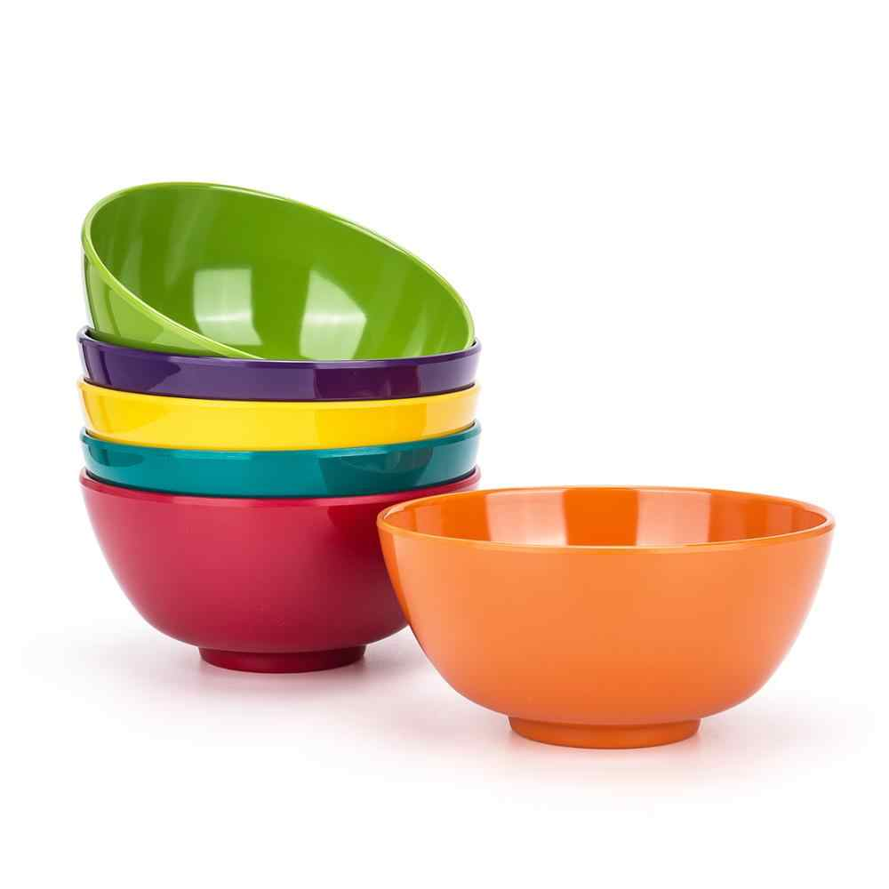 6Piece 6inch Round 100/% Melamine Salad Soup Cereal Bowl,Break-resistant,BPA Free