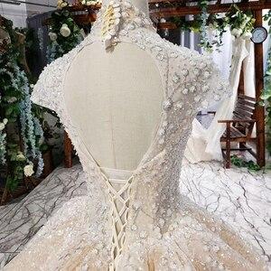 Image 5 - HTL639 brilhantes vestidos de casamento com brilho de alta pescoço cap luva de cristal vestidos de casamento do laço com trem vestidos de novia vindima