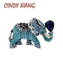 CINDY XIANG-broches de elefante de diamantes de imitación para mujer, broche de Pin de Animal Vintage en 6 colores, nuevo diseño de alta calidad 2021