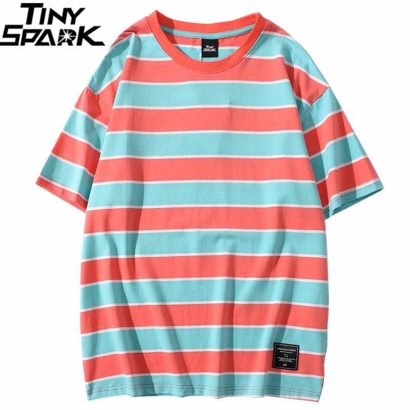 Harajuku T Shirt Retro Stripe Men 2020 Streetwear Hip Hop Tshirt Short Sleeve Cotton T-Shirt Fashion Tops Tees Yellow Red Green