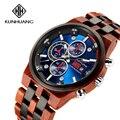 KUNHUANG Лидирующий бренд Роскошные мужские часы модные синие 3 циферблата кварцевые мужские часы календарь светящиеся стрелки деревянный рем...