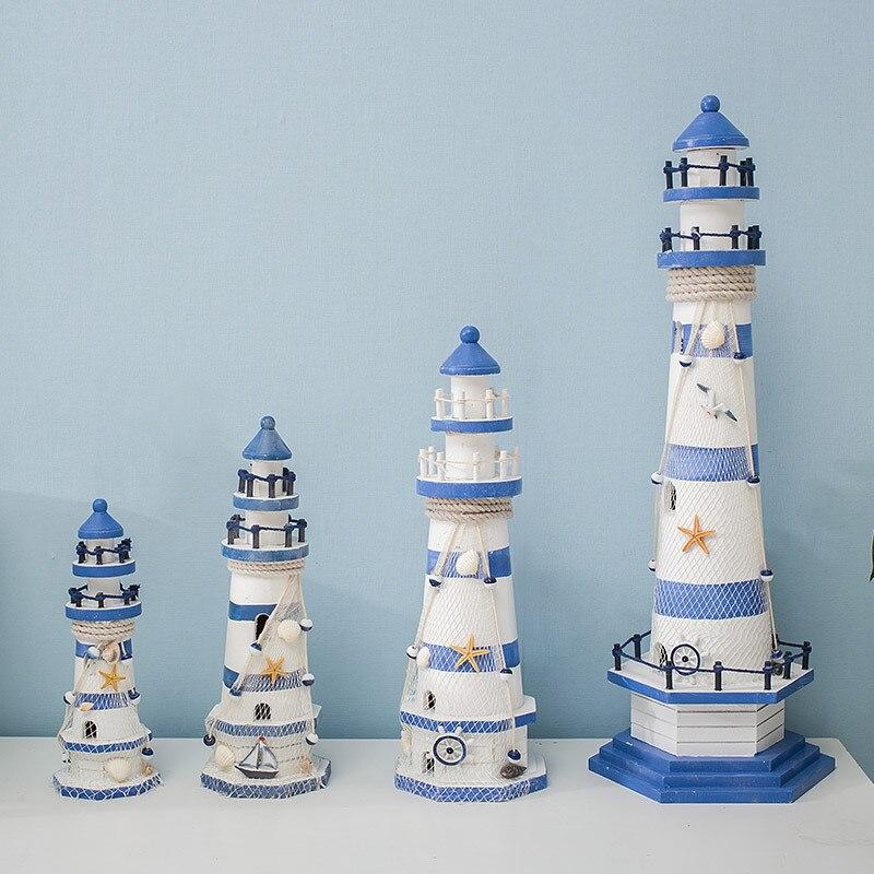 Stripe Lighthouse Simulation Model Mediterranean Wooden Handicraft Home Decorations Creativity Marine Style Decor Arts and Craft