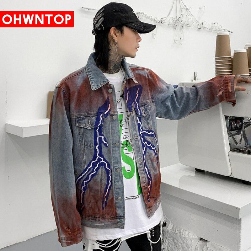 New Korean Lightning Graffiti Print Jean Jacket Men Hip Hop Streetwear High Street Couple Denim Jacket Harajuku Men's Clothing