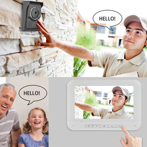 Image 5 - 7 بوصة السلكية جرس باب يتضمن شاشة عرض فيديو إنترفون كاميرا غير نافذ للمطر البصرية نظام اتصال داخلي فيديو باب الهاتف شحن مجاني
