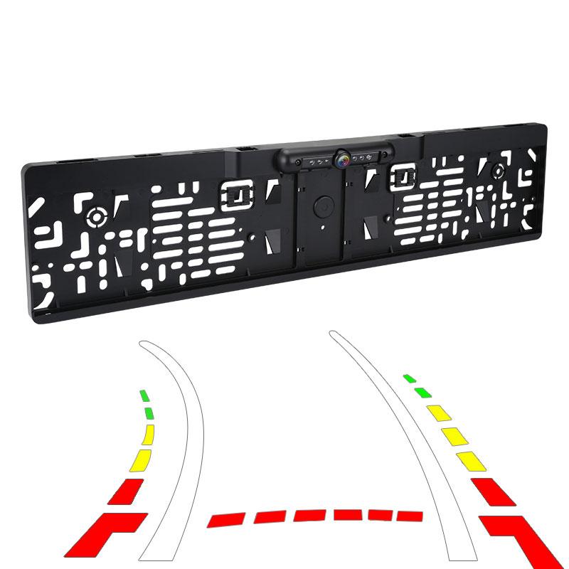 New Arrival!Dynamic trajectory European license Plate Frame Rear View Camera System With Night Vision IR Lights/LED lights