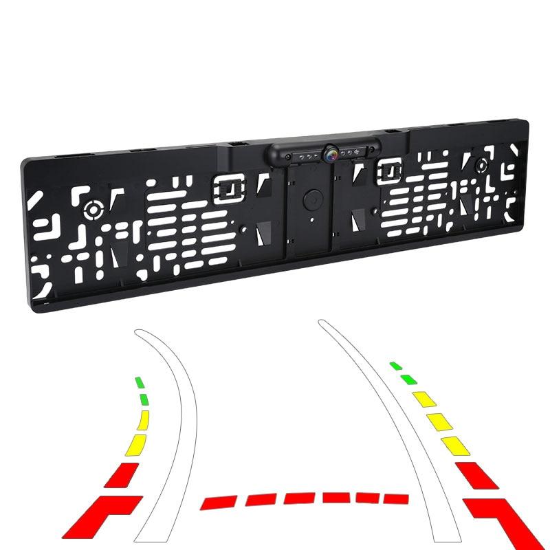 Vision arrière système de caméra   Trajectoire dynamique, cadre de plaque d'immatriculation européenne avec Vision nocturne, lumières IR/phares