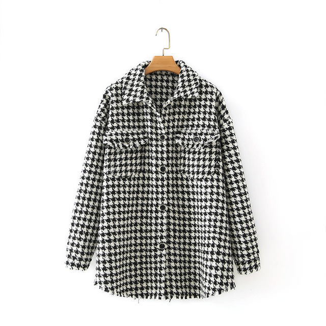 Autumn Winter Women Oversized Vintage Plaid Tweed Jackets Coat Chic Pockets Tassel Outerwear Tops Female Casual Loose Clothes 5