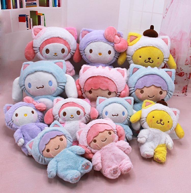 Japan Hot Style Saniro Hellokitty Cinnamoroll  Melody Pudding Dog  Stuffed Animals Binary Star Birthday Present Calm Doll