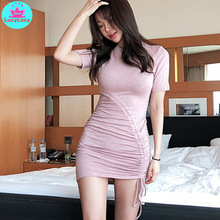 2019 South Korea summer new pink pleated drawstring slim bag hip dress womens clothing
