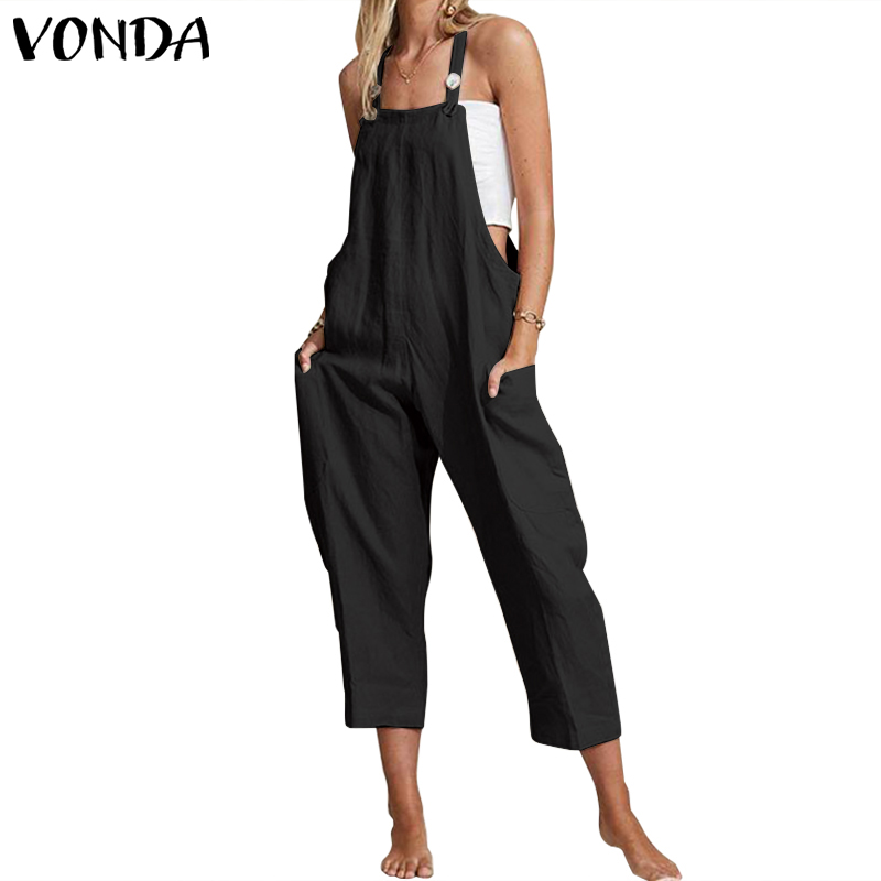 VONDA 2019 Rompers Women Jumpsuits Casual Sexy Sleeveless Off Shoulder Wide Leg Pants Plus Size Bohemian Summer Women's Trousers