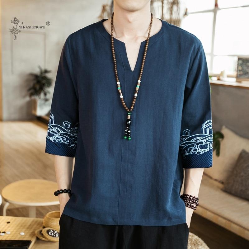 Kimono Japanese Men Short Half-Sleeve Shirt T-shirt Embroidered Japan Harajuku Trouser Asian Male Yukata Haori Cardigan Costume(China)