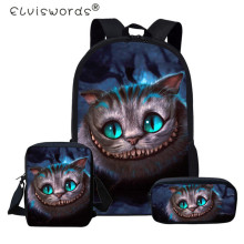 ELVISWORDS 3D Smile Cheshire Cat 3Pcs Schoolbag Set Multifunction Backpack School Bags for Teenagers Funny Kids Schoolbags