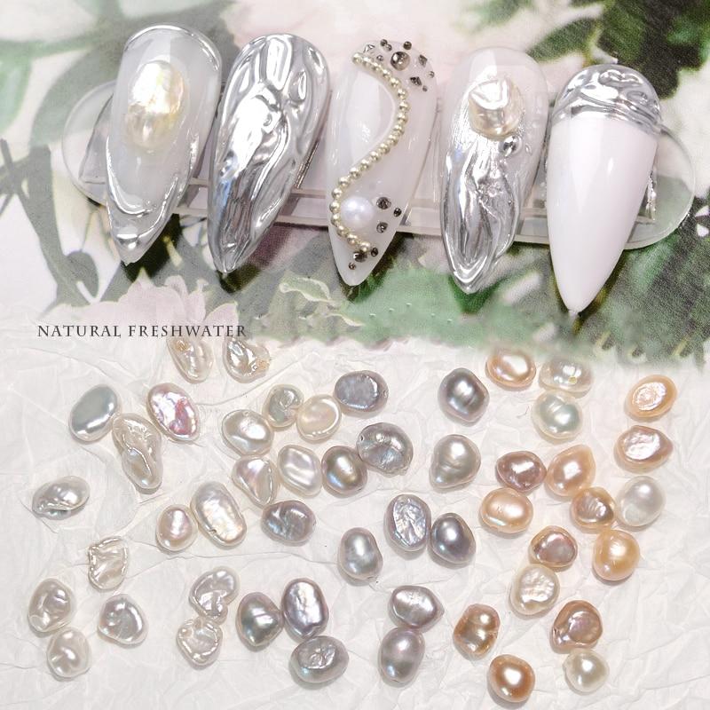 10pcs 3D Natural Pearls Nail Art Decorations Irregular Freshwater Pearl Ornaments Elegant Jewelry Charming Manicure Accessories