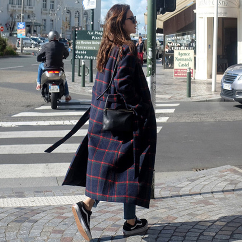Winter Woman Coats 2019 Autumn and Winter New Woolen Coat Belt Version of The Plaid In The Long Coat Large Size Female Jacket