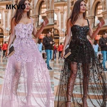 High waist mesh long dress color sequins fashion spaghetti strap dresses holiday party black pink elegant maxi dress vestidos