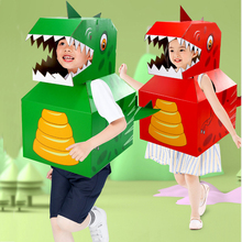 Children 3D Paper Jigsaw Puzzles Paper Dinosaur Cosplay Assemble Cloth Puzzles Toys Kids Educational Toys For Kids Friends Gifts