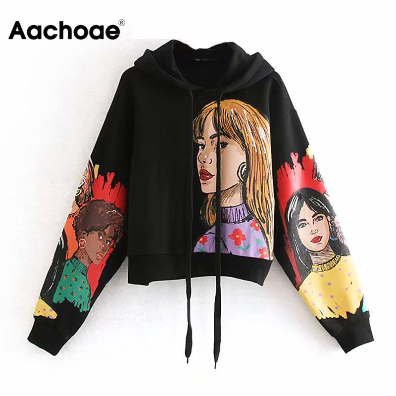 Aachoae Streetwear Character Print Hooded Hoodies Women Long Sleeve Loose Sweatshirts Pullover Tops Autumn Spring Sudadera Mujer