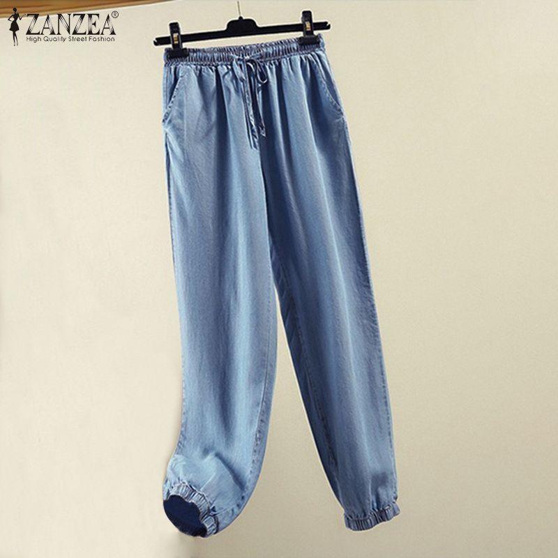 2020 ZANZEA Fashion Jeans Women's Solid Harem Pants Female Elastic Waist Denim Blue Long Pantalon Female Casual Autumn Palazzo