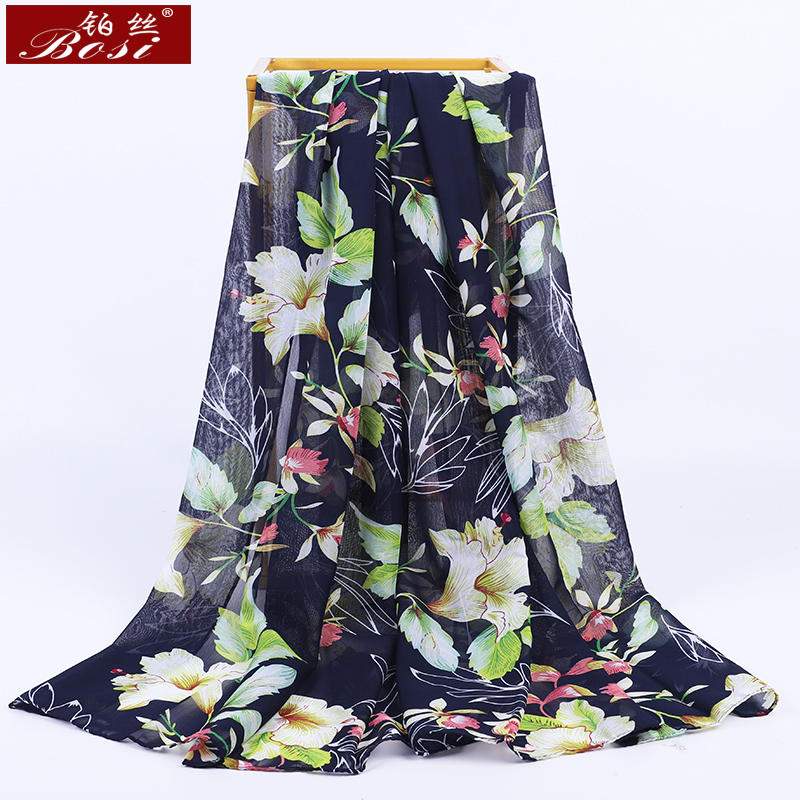 2020 New Chiffon Scarf Flowers Print Women Fashion Luxury Brand Hijab Bohemian Summer Ladies Scarfs Poncho Shawl Ladies Scarves