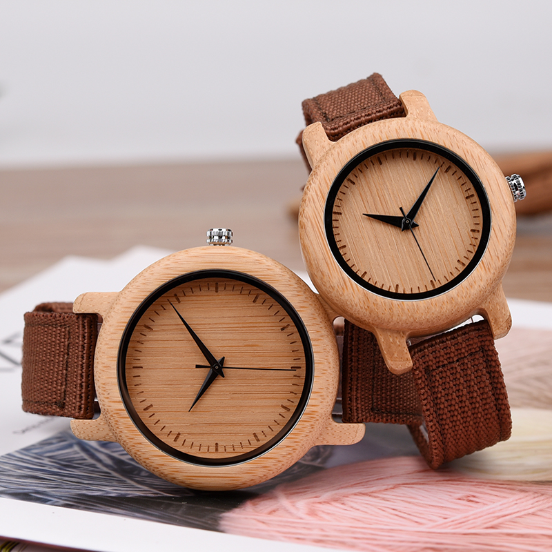 Image 2 - DODO DEER Bamboo Wooden Quartz Wrist Watch for Love Nylon Strap Couple Wooden Customize Watches for Men and Women OEM B05Lovers Watches   -