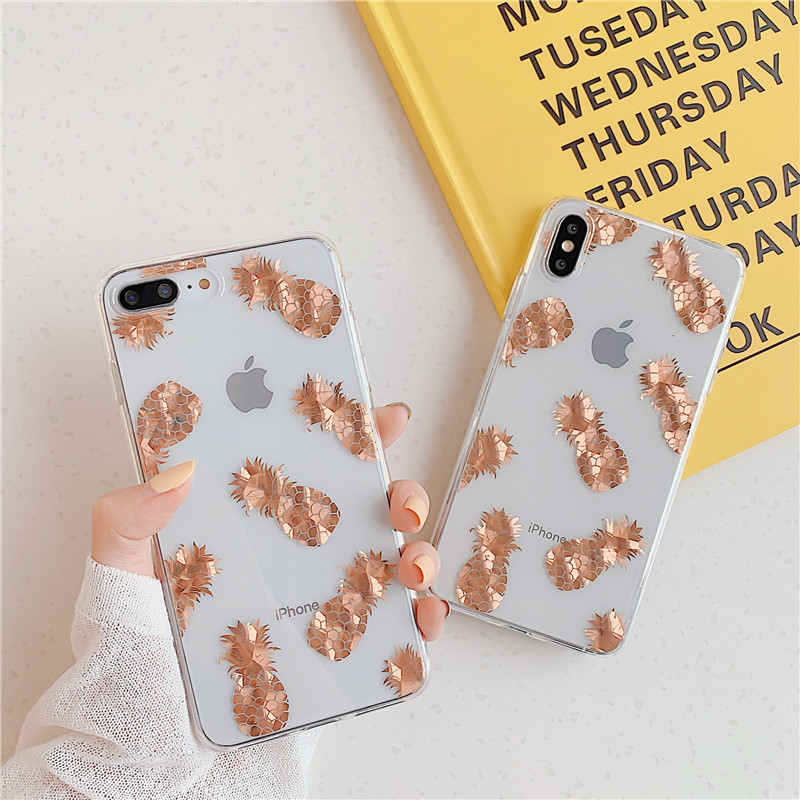 Luxury Gold Glitter Transparent Phone Back Cover And Clear Phone Bling Case Shell For iPhone Models 1