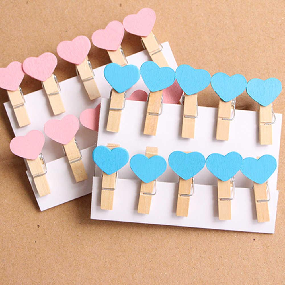10 sztuk Mini serce miłość drewniane ubrania zdjęcie papieru Peg Pin Clothespin Craft żywności pocztówka klipy domowe rękodzieło dekoracji