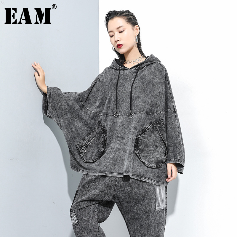 [EAM] Loose Fit Oversize Pocket Denim Sweatshirt New Hooded Long Sleeve Women Big Size Fashion Tide Autumn Winter 2019 1D659