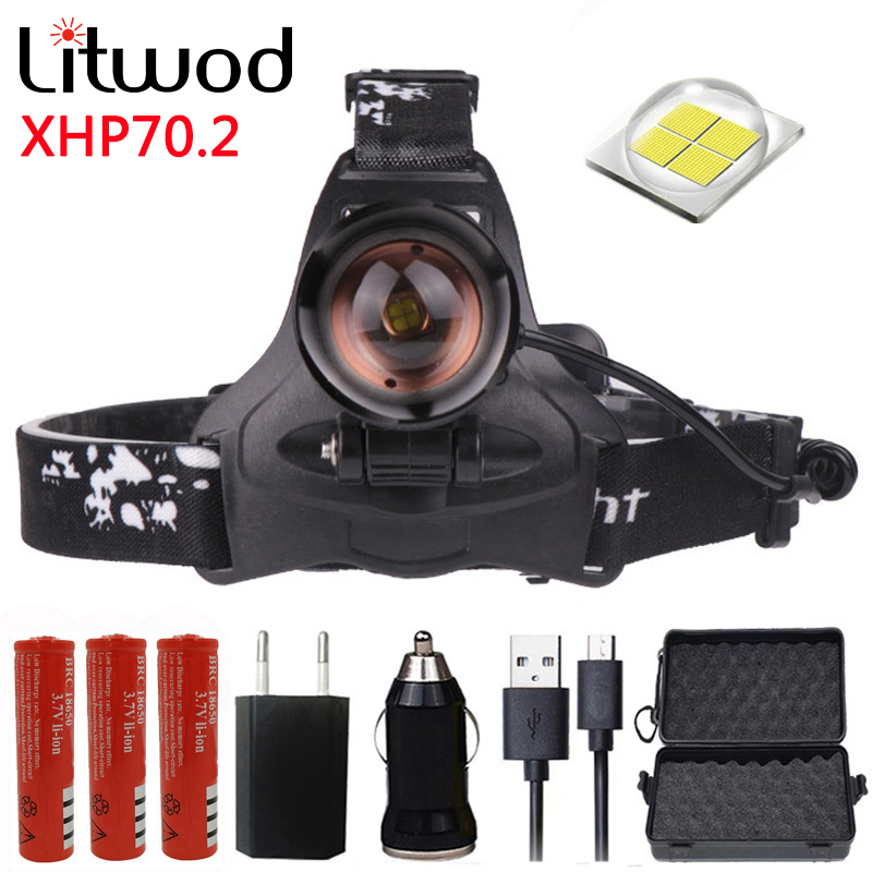 Z20 Litwod 2806 32W Chip XHP70.2 Headlight 32000lum Powerful Led Headlamp Zoom Head Light Head Lamp Flashlight Torch Lantern