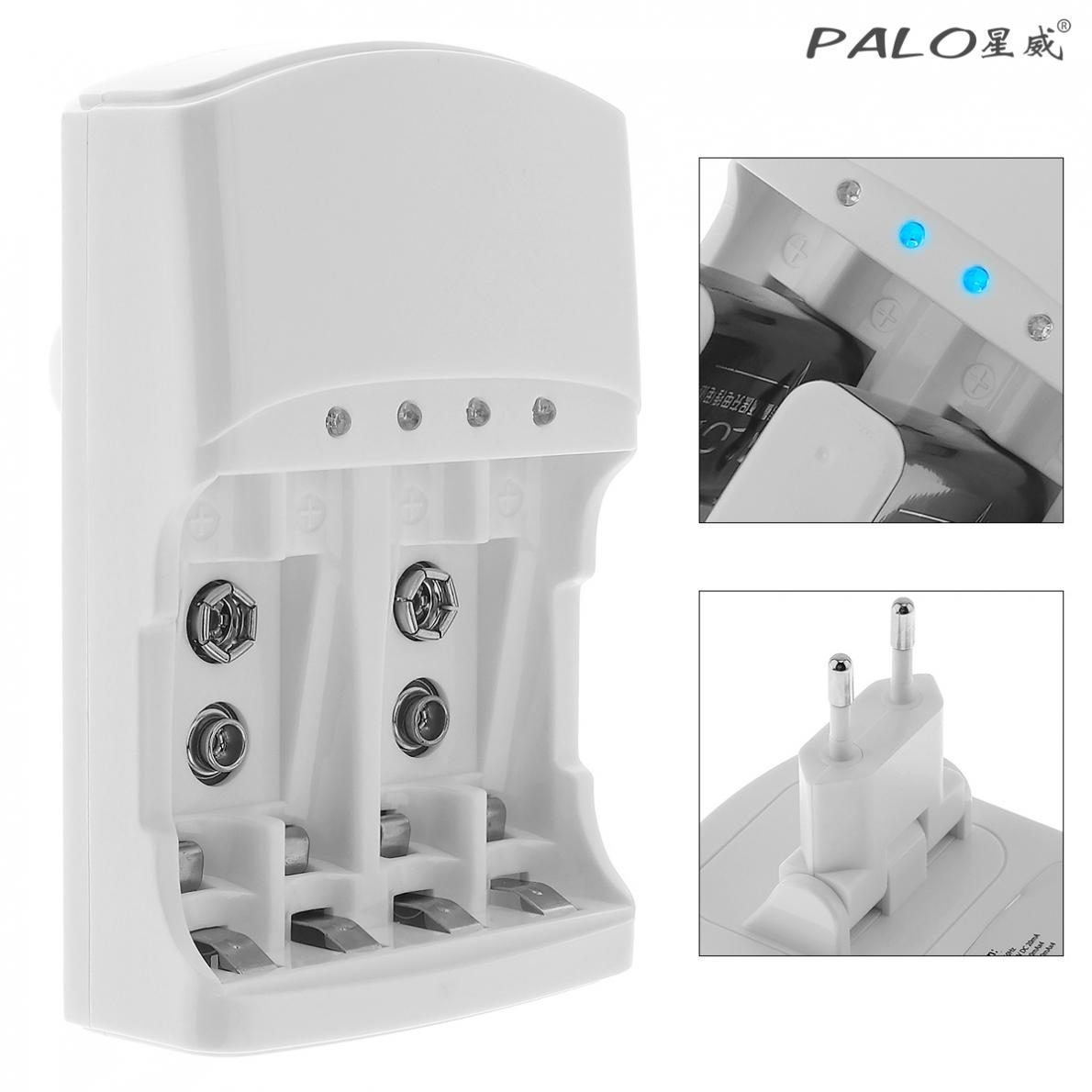 PALO 4 Slots Quick <font><b>Battery</b></font> <font><b>Charger</b></font> Over Temperature Protection for AA AAA <font><b>9V</b></font> Ni-MH NiMH Ni-Cd <font><b>Battery</b></font> Support Mixed Charging image