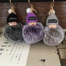 10Pcs Cute Mini Sleeping Baby Doll Key Chains For Women Bag Toy Key Ring Fluffy Pom pom Faux Fur Plush Keychains
