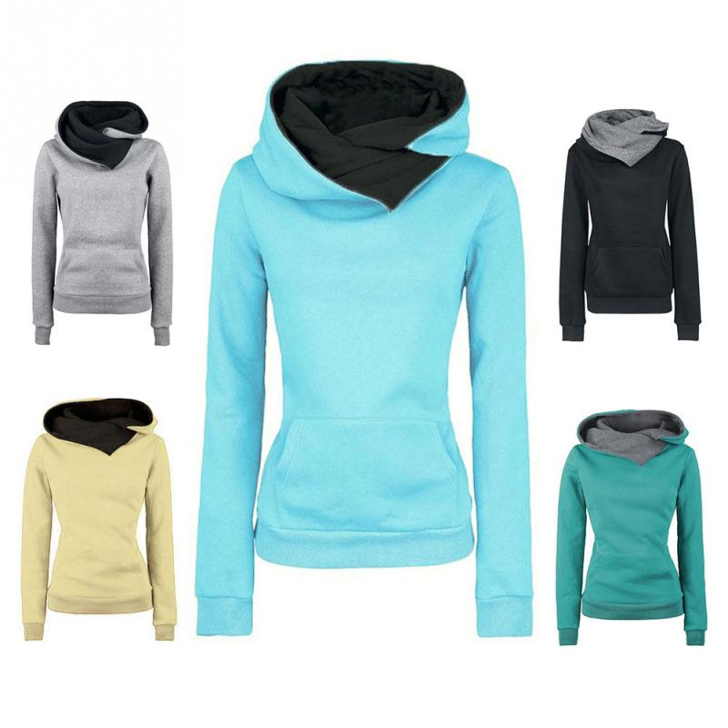 Women Autumn Long Sleevle Sweatshirt Ladies Chic Design  Casual  Lapel Solid Hooded Sweatshirts  Pullovers Turn-down Collar Tops