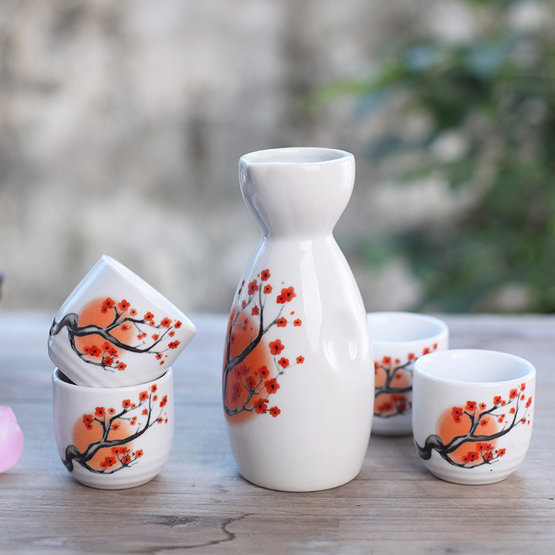 Japanese and Korean Style Exquisite Exquisite Ceramic Sake Pot Wine Glass Sake Bottle One Pot of Four Cups Gift Set image
