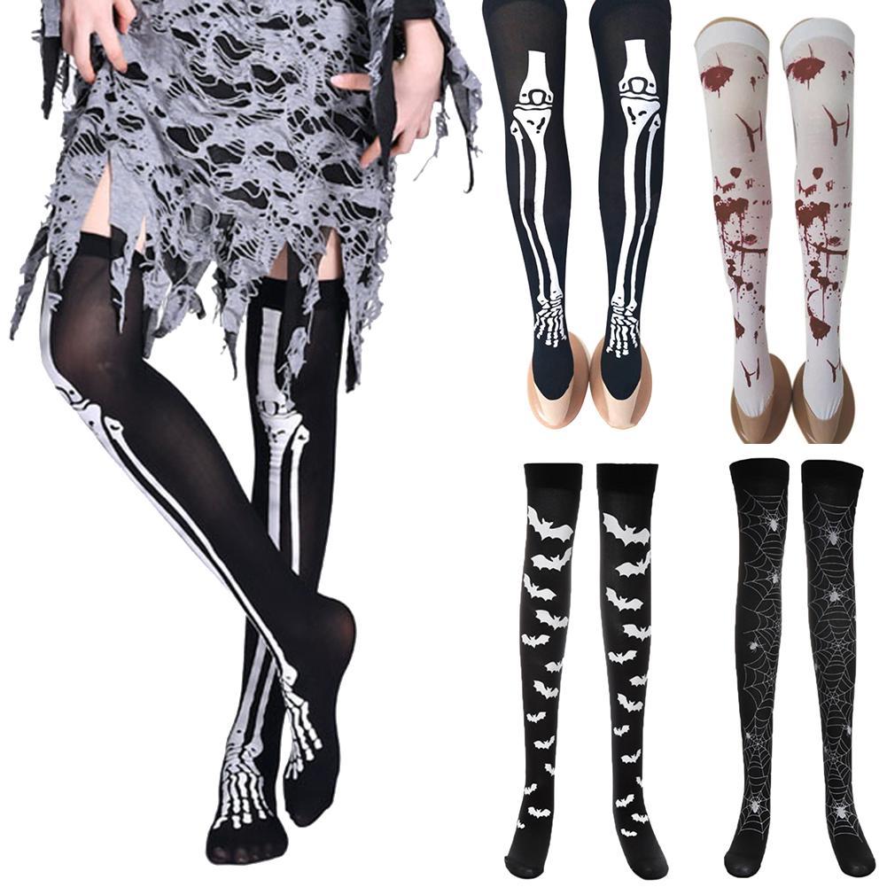 New Halloween Party Bloody Skeleton Cobweb Bat Stockings Women Thigh High Socks Women's Stockings Halloween Stockings Costu