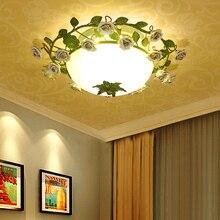 Lámpara de techo de hierro con forma de rosa para dormitorio lámpara de iluminación Led para dormitorio, boda, niña de boda, estilo rústico americano