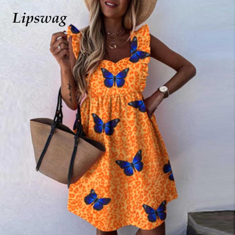 優雅なポルカドットプリントフリルミニドレス女性のためのパーティーセクシーなvネックバタフライ新プリーツ夏のビーチドレス