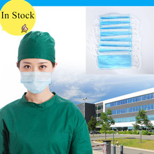 Non Woven Disposable Earloop Face Mouth Masks 10/30/50/100PCS Anti-Dust 3 Layers Face Surgical Masks For Medical Salon Beauty