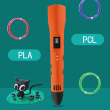 QCREATE 3D Printing Pen Support PCL PLA Material LCD Display Adjustable Temperature 8 Gears Speed With 100M 20 Colors Filament