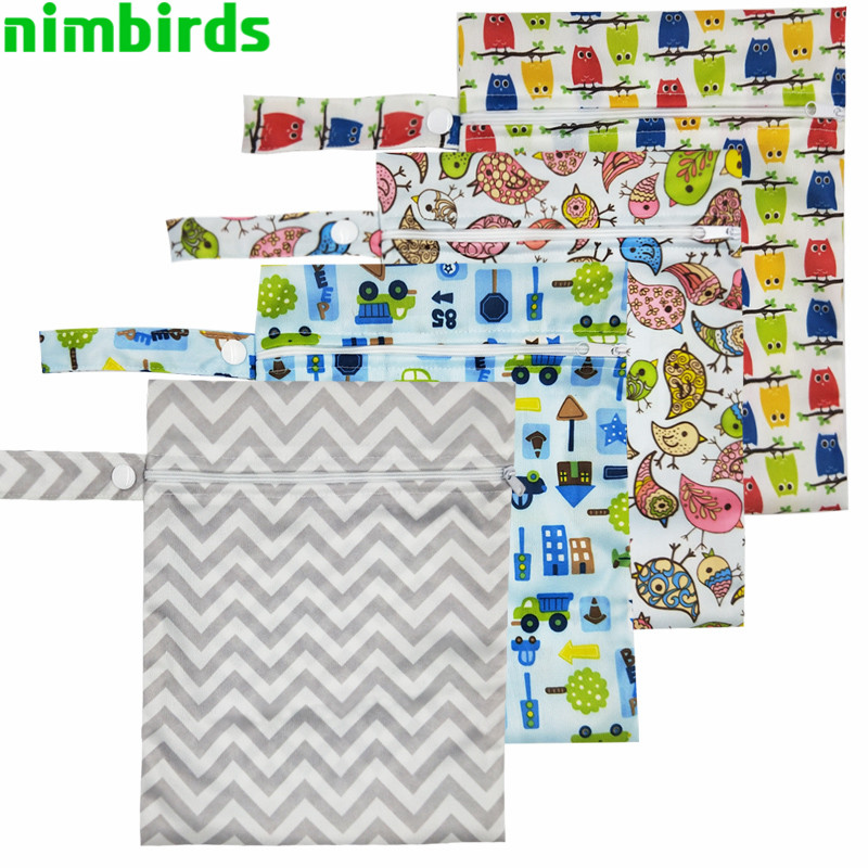 10 PCS Waterproof Reusable Wet Bag Printed Nappy Bags PUL Travel Wet Dry Bag Washable Wetbag Bags 20x25 Cm Diaper Bag Wholesale